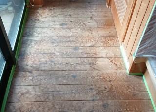 木床床研磨及び保護ウレタン塗装